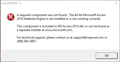 A Required Component was not found/The operating system is